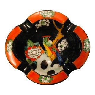 1960's Japanese Ceramic Orange and Black Ashtray For Sale