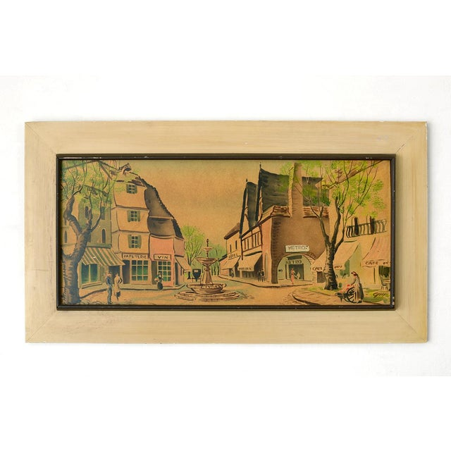 Sweet mid century era watercolor painting depicting daily life at the town square of perhaps a fictional French village....