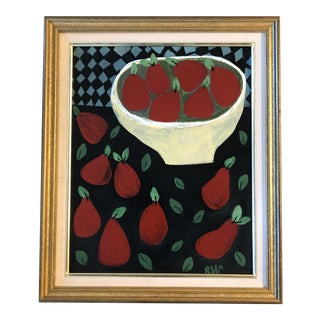 "Original Contemporary Folk Artist Rose Walton ""Red Pears"" Still Life Painting For Sale"