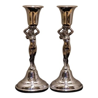 20th Century Figurative Krome-Kraft Farber Bros Chrome Candlesticks - a Pair For Sale