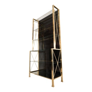 Vintage Brass and Black Glass Etagere For Sale