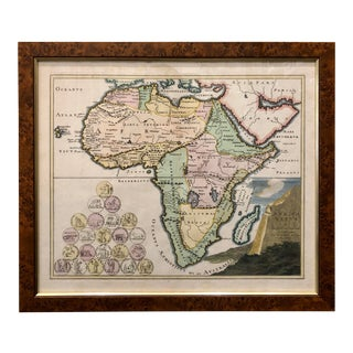 Antique 17th Century Etched Map of Africa in Custom Burlwood + Brass Frame For Sale