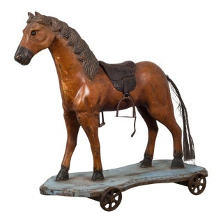 Handmade Horse Pull Toy C.1950 For Sale