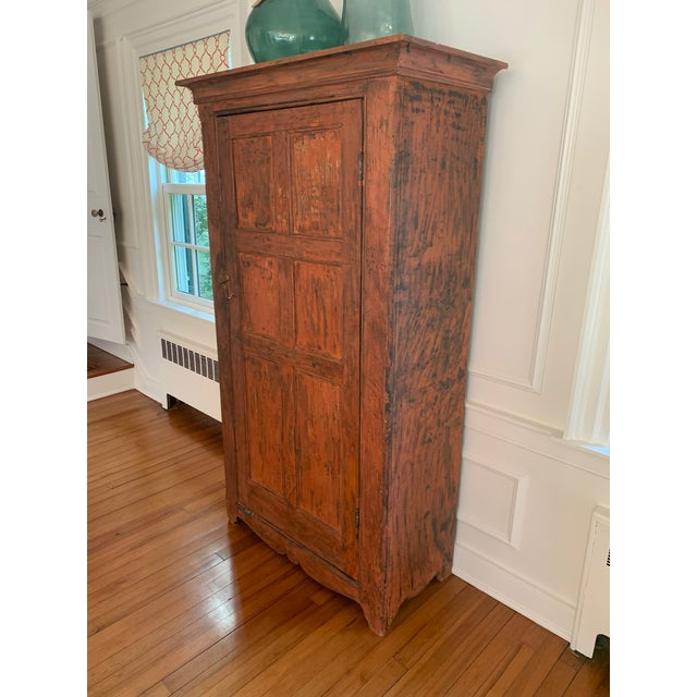 1940s Distressed Painted Vintage Vermont Cupboard For Sale - Image 5 of 9