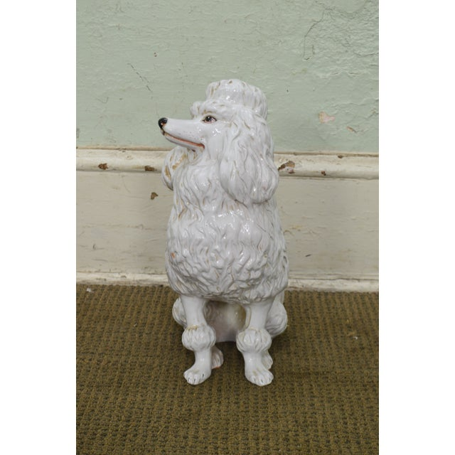 *STORE ITEM #: 18352 Italian Pottery Vintage White Ceramic Poodle Dog Statue (A) AGE / ORIGIN: Approx. 50 years, Italy...