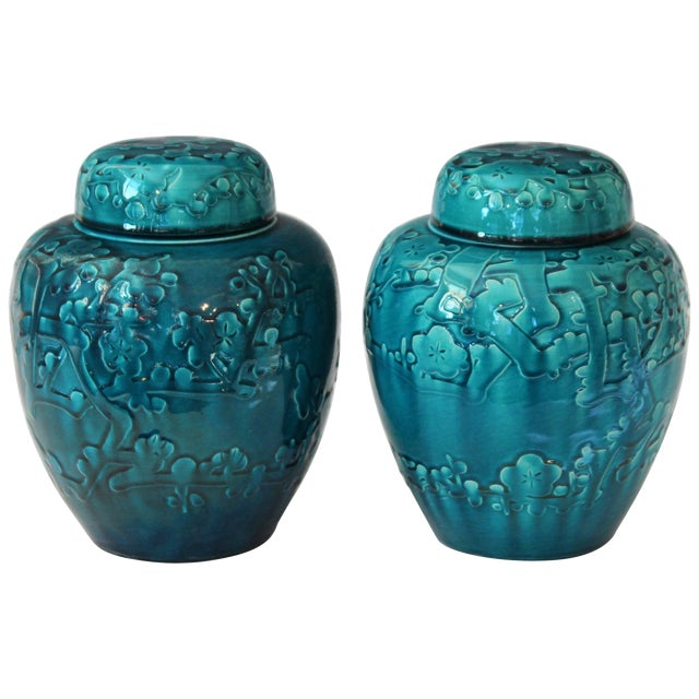 Turquoise Awaji Pottery Ginger Jars, Covers Applied and Incised Prunus - a Pair For Sale