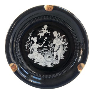 24k-Gold Black Vintage Italian Neoclassical Ashtray or Catchall For Sale