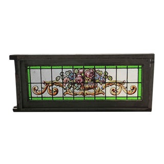 Leaded Floral Painted Glass Window For Sale