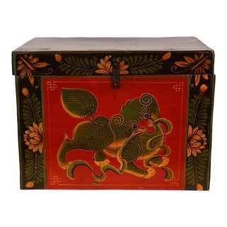 19 Century Antique Chinese Wooden Painted Box For Sale