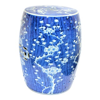 Chinoiserie Blue and White Cherry Blossom Garden Stool For Sale