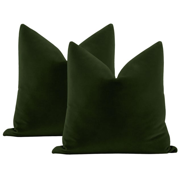 """Not Yet Made - Made To Order 22"""" Fern Italian Velvet Pillows - a Pair For Sale - Image 5 of 5"""