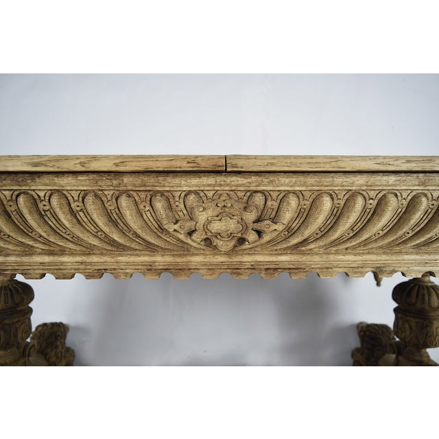 19th-C. French Bleached Oak Library Table - Image 7 of 11