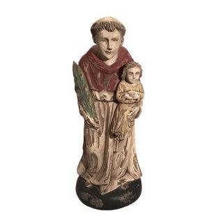 Vintage Hand Carved Wooden Saint Anthony Sculpture For Sale