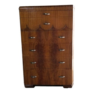 1940's Joerns Brothers Art Deco Waterfall Six-Drawer Highboy For Sale