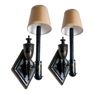 Italian Painted Wall Lamps - a Pair For Sale