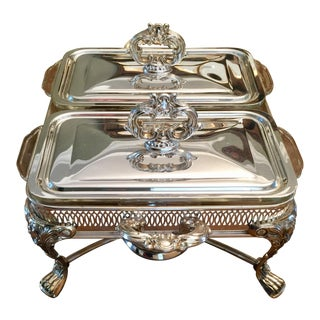 Silver- Plated Double Serving Dish