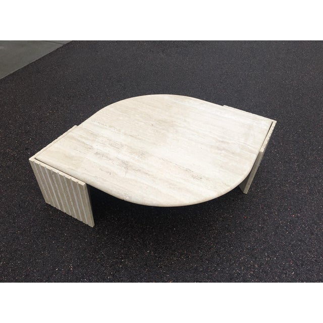 1980's Brutalist Travertine Marble Coffee Table For Sale - Image 12 of 12