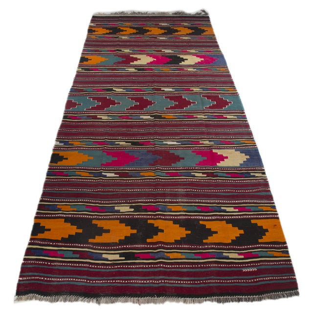 "Turkish Kilim Flat-Weave Runner Rug - 6'2"" x 14' - Image 4 of 8"