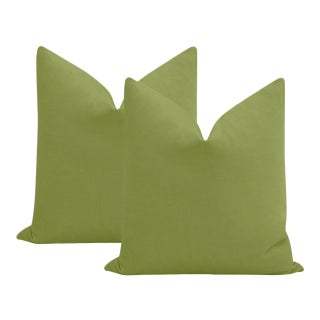 """22"""" Olive Performance Linen Pillow - a Pair For Sale"""