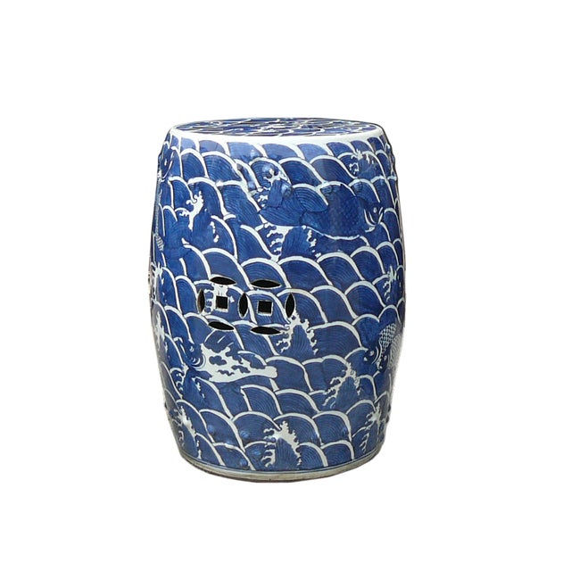 Blue And White Porcelain Round Fishes Stool Table - Image 5 of 6