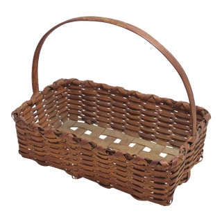 1910s Country Hand Woven Berry Gathering Basket For Sale