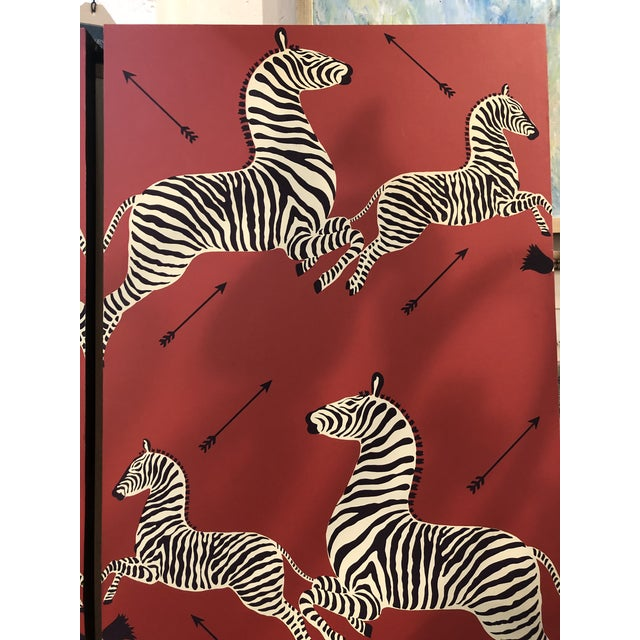 Illustration Wall Mounted Scalamandre Zebra Wallpaper Panels - a Pair For Sale - Image 3 of 13