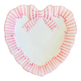Vintage Haldon Group Pink Striped Ribbon Heart Ceramic Catchall Dish For Sale