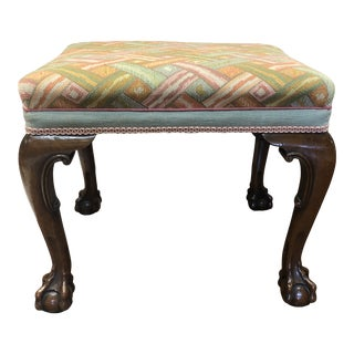 Late 20th Century Needlepoint Ball and Claw Stool With Weave Print Green, Blue, Pink and Orange Fabric and Carved Wood Base For Sale