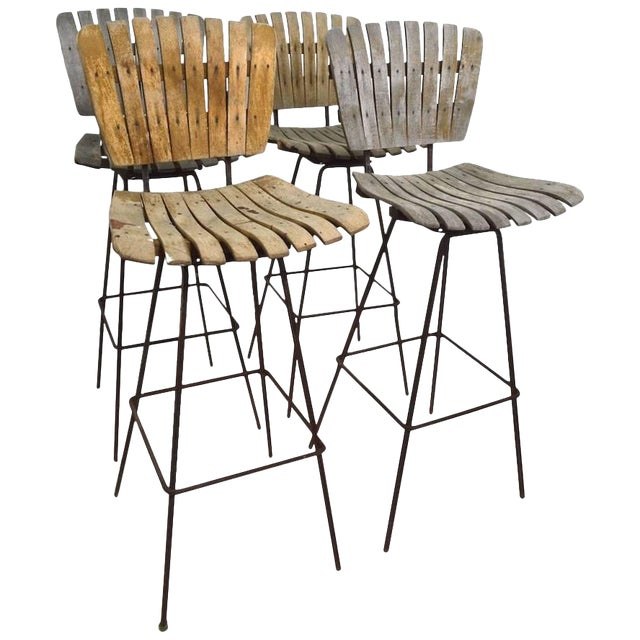 Vintage Umanoff Weathered Wood Stools- Set of 4 For Sale