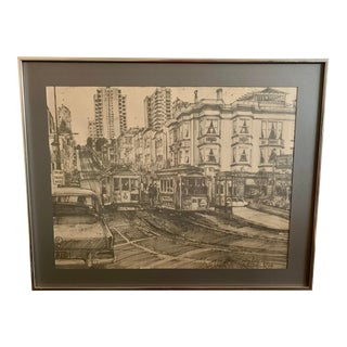 "Vintage ""Streets of San Fransisco Cable Car"" Sketch Print by William Radley For Sale"