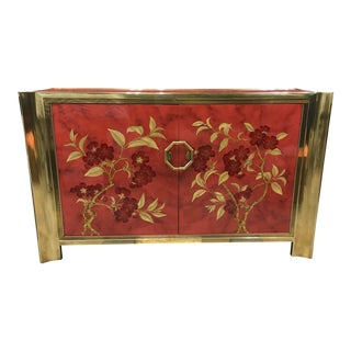 1970s Vintage Mastercraft Brass and Enameled Wood Cabinet For Sale