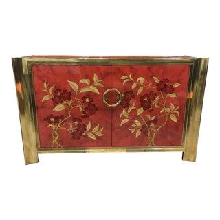 1970s Vintage Mastercraft Brass and Enameled Wood Cabinet For Sale