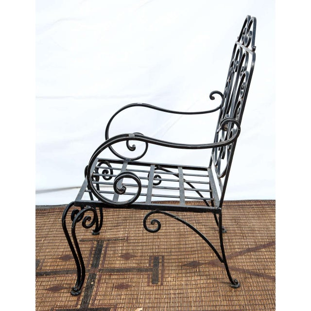 1970s Pair of Iron French Armchairs in the Style of j.c. Moreux For Sale - Image 5 of 10