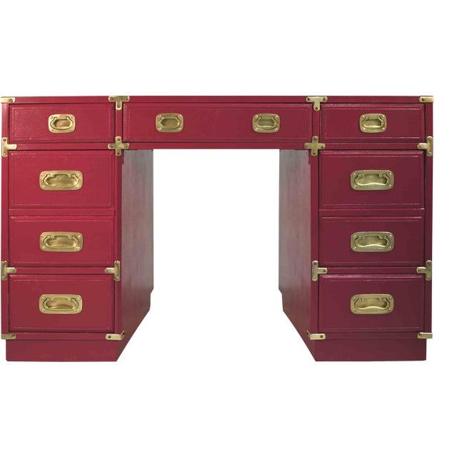 1970s Campaign Partner Desk From Drexel Et Cetera Collection For Sale