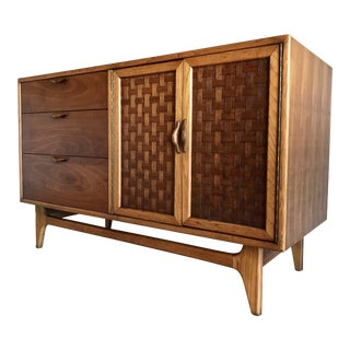 Mid Century Modern Lane Perception Walnut Credenza Console Buffet Dresser Woven Basket Weave Doors For Sale