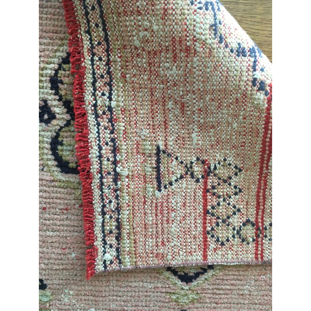 Vintage Turkish Oushak Pink Faded Tribal Boho Runner Rug 2'6'' X 9'7'' For Sale - Image 9 of 11