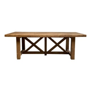 Vintage Reclaimed Elm Wood Dining Table For Sale