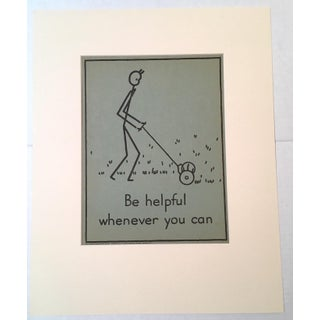 """Vintage 1940's Double-Sided """"Good Manners"""" Stick Figure Poster - Be Helpful/Care for Books"""