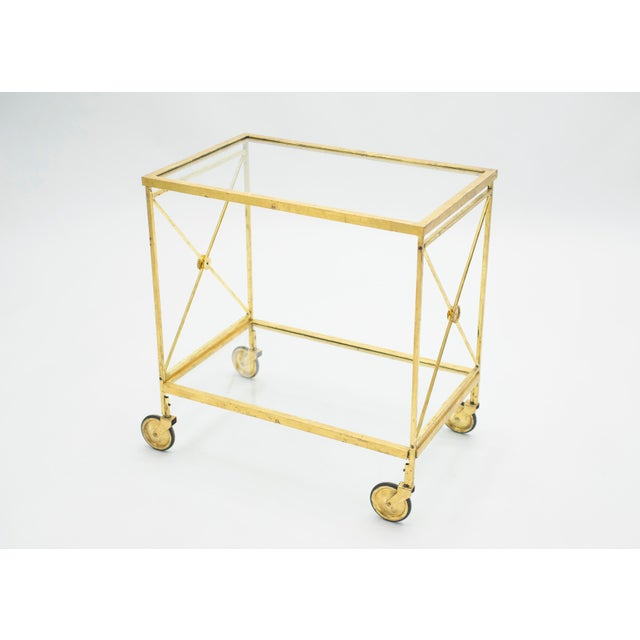 French Neoclassical Maison Jansen Gilded Iron Bar Cart 1960s For Sale - Image 12 of 12