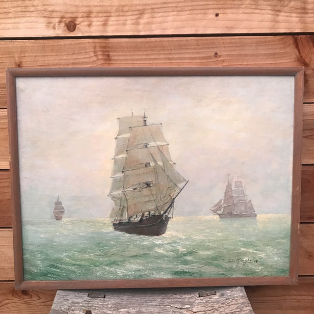 Vintage Seascape Clipper Ship Oil Painting Signed For Sale - Image 12 of 12
