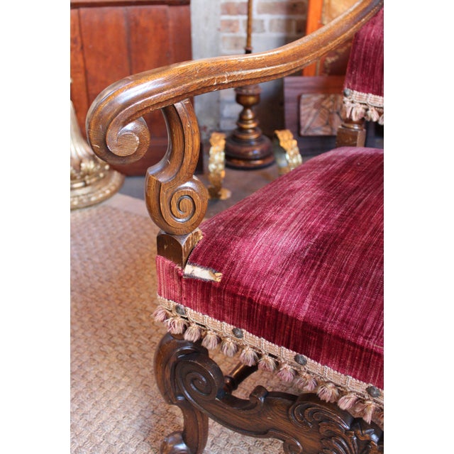 Louis XIV Style Carved Oak Arm Chairs - A Pair - Image 6 of 9