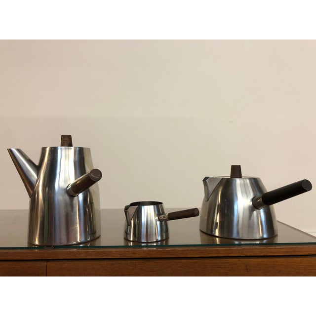 Vintage Danish Stainless and Rosewood Coffee and Tea Set Made in Denmark by Lundtofte For Sale - Image 12 of 12