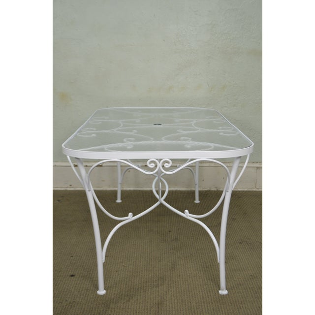 Woodard white painted oval glass top patio dining table 6 chair glass woodard white painted oval glass top patio dining table 6 chair set for sale watchthetrailerfo