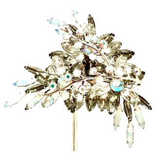 1950's Monumental Silver & Austrian Crystal Abstract Floral Dimensional Brooch For Sale