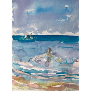 Seascape Landscape Woman Wading (Key West) Original Watercolor Painting by Rebecca Dvorak For Sale