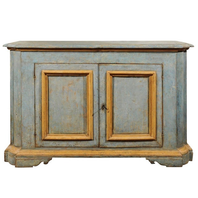 Italian Florentine Light Grey Blue Painted Buffet with Two Doors from the 1820s For Sale - Image 11 of 11