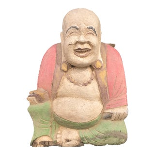 Hand Curved Asian Wooden Buddha Sculpture For Sale