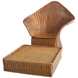 Image of Vintage Mid Century Triangular Wicker/Rattan Armchair and Ottoman For Sale