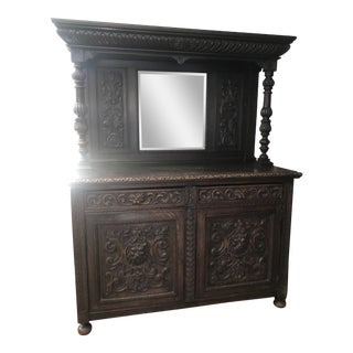 Victorian Gothic Revival Oak Sideboard, Circa 1860-1890 For Sale