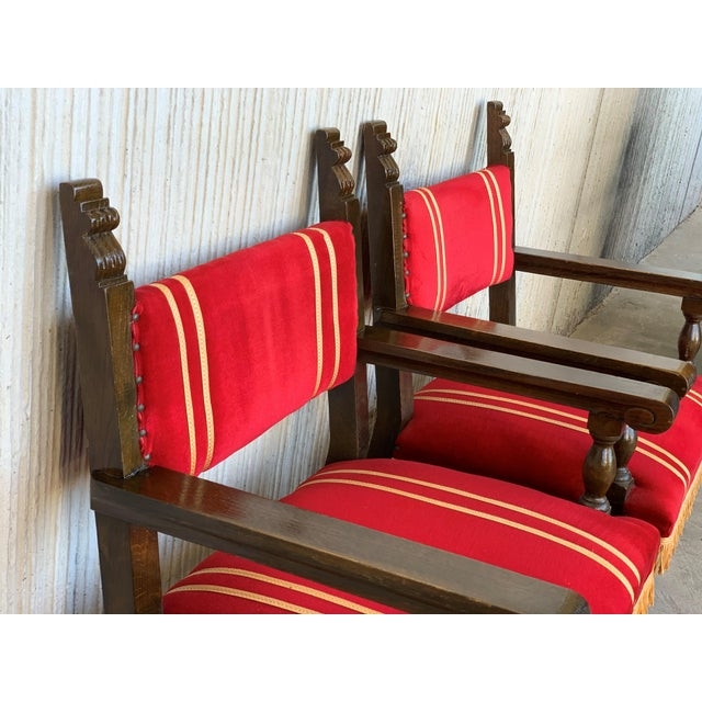 Red 19th Set of Six Spanish Low Armchairs in Carved Walnut and Red Velvet Upholstery For Sale - Image 8 of 12